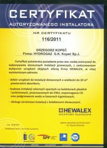 Hydrogaz certyfikat HEWALEX
