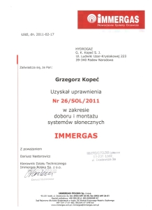 Hydrogaz certyfikat IMMERGAS